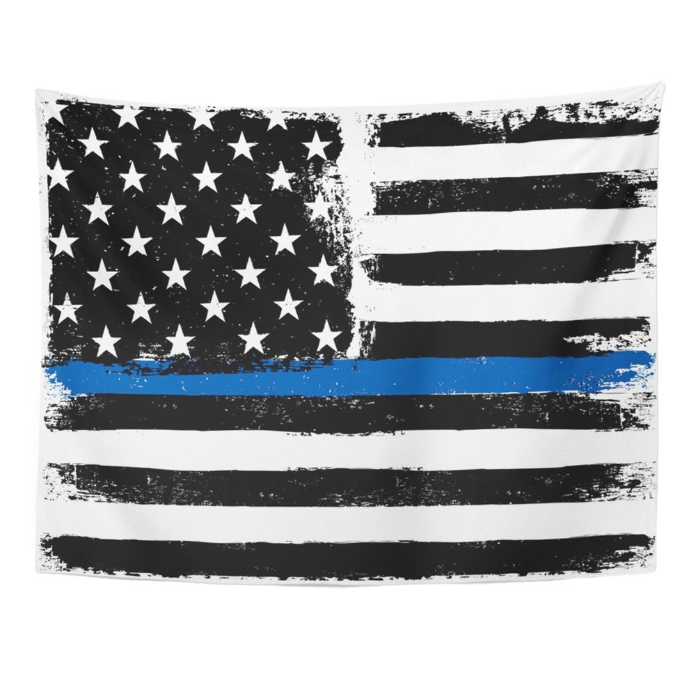Emvency Tapestry Mandala 60''x80'' Home Decor American Flag with Thin Blue Line Grunge Aged Monochrome Gamut Black and White Tapestries Bedroom Living Room Dorm