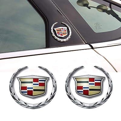 2pcs 3D for Cadillac Emblem, Metal Labeling for Escalade ATS SRX XTS CTS XT5 XLR,etc, Car Tailgate Hood Emblem: Automotive