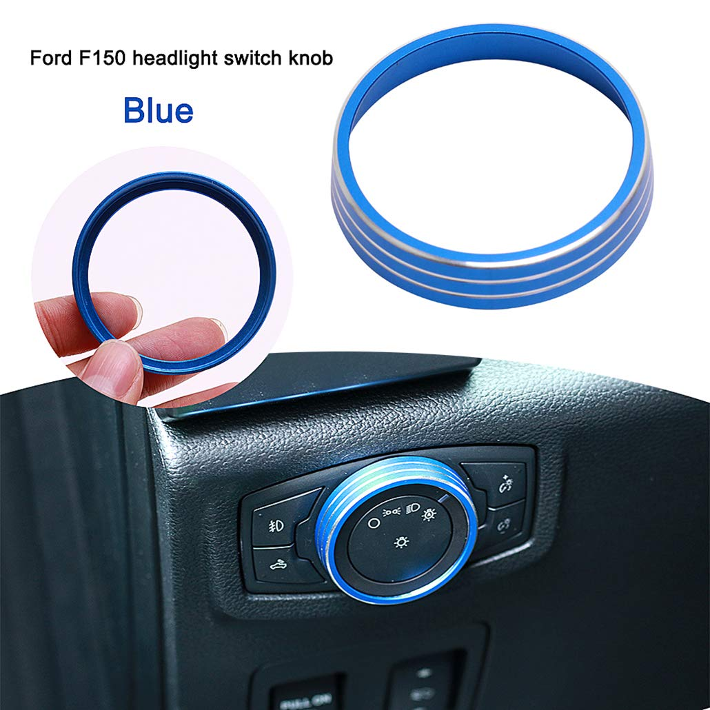 half surround Replacement For Ford Mustang F150 2015-2016 Aluminum Alloy Headlight Lamp Adjust Control Button Knob Cover Trim Frame Ring Blue