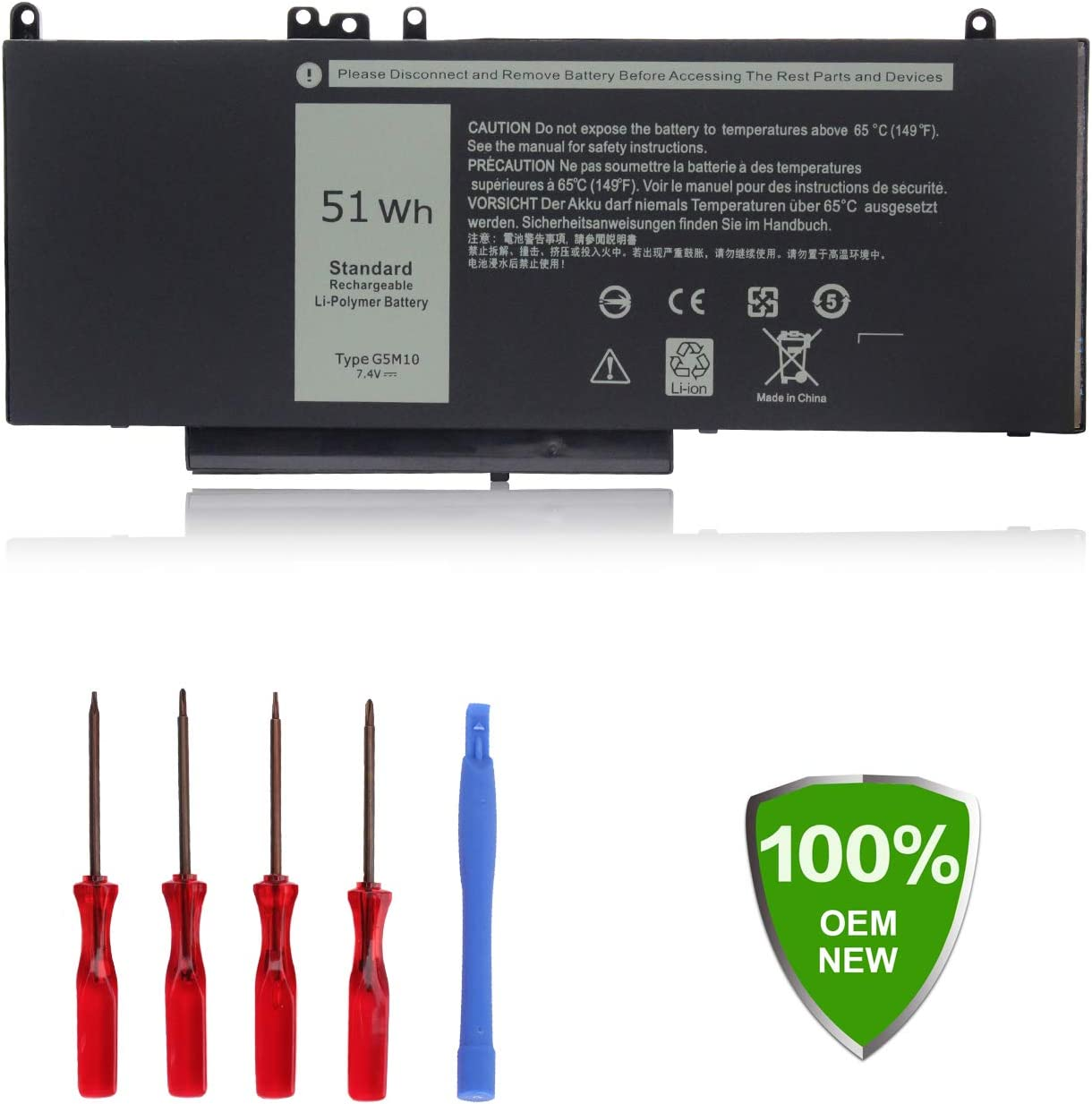 Ouside G5M10 R0TMP Battery Compatible with Dell LatitudeE5450 E5550 7V69Y 6MT4T R9XM9 WYJC2 1KY05 8V5GX 79VRK TXF9M WYJC2 0WYJC2 08V5GX Notebook Battery [ 7.4V 51Wh 4Cell]