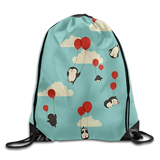 We Can Fly Penguin And Balloon Men   Women Sport Sack Drawstring Backpack  Travel Rucksack Shoulder 2d7f53840a31b