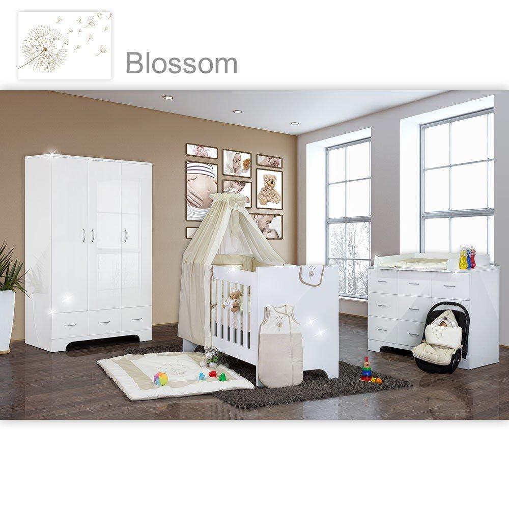 Hochglanz Babyzimmer Memi 19-tlg. mit Textilien von Blossom in Beige