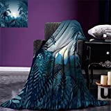smallbeefly Jungle Throw Blanket Night in the Rainforest Jungle with Wild Tiger Animal Moonlight Palm Shrubs Hazy Graphic Warm Microfiber All Season Blanket for Bed or Couch Teal