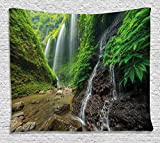 Ambesonne Waterfall Decor Tapestry, Waterfalls side Valley in Indonesia with Asian Bushes above the Hills, Wall Hanging for Bedroom Living Room Dorm, 80 W X 60 L Inches, Green and Brown