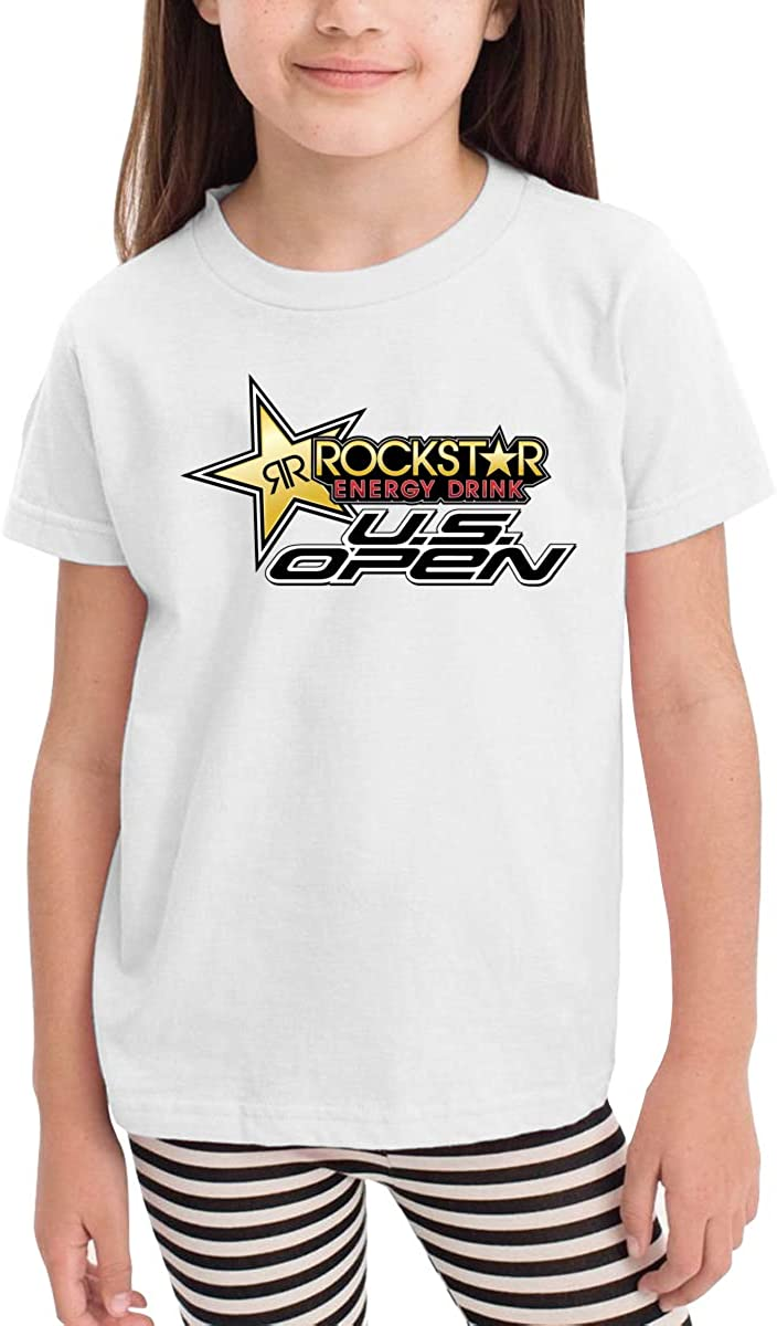 Rockstar Energy-Drink Childrens T-Shirt Casual Classic Cotton Shirt with Round Collar Black