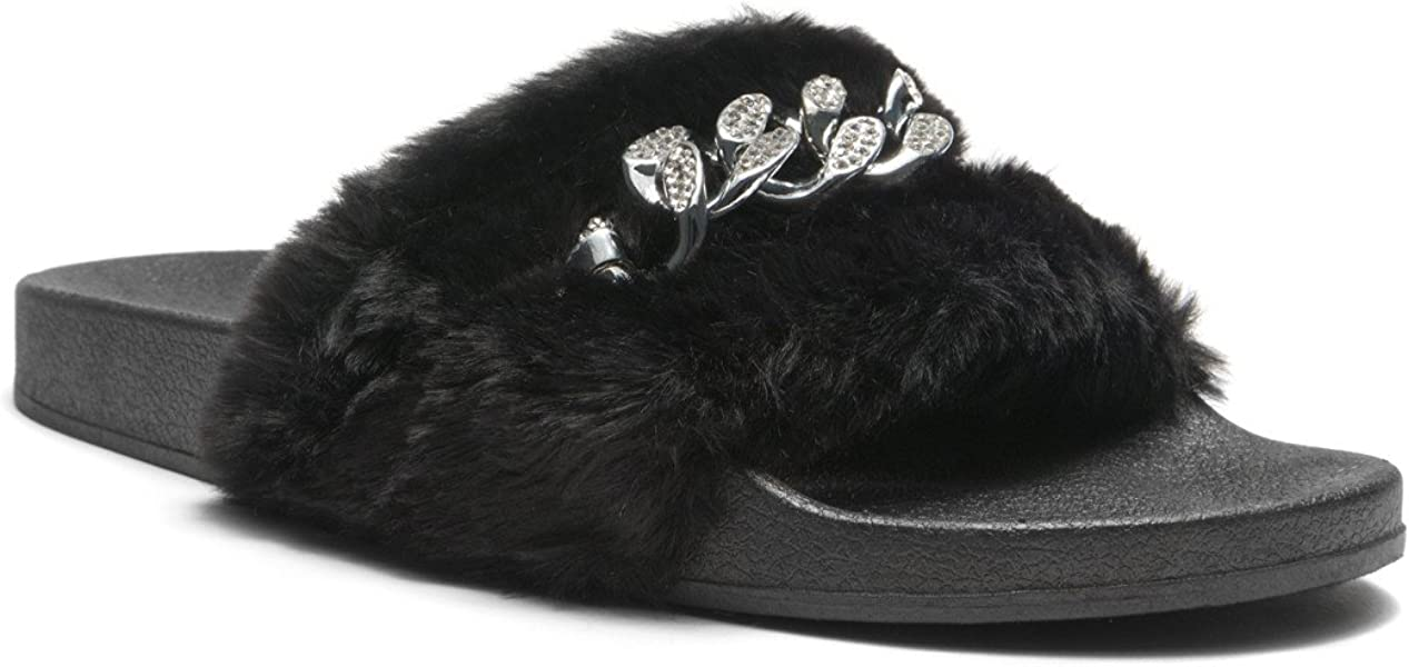 5e9bf8b61 Herstyle Women's SL-16110102 Faux Fur Slide Sandal with Chain Accent Black 9
