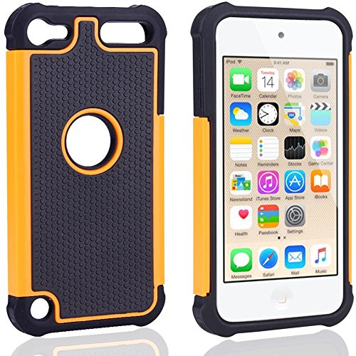 APPLE iPod Touch 6 case, Scratch-Resistant Dual Layer Hybrid Protective Case and Shockproof Bumper by Boonix (Orange)