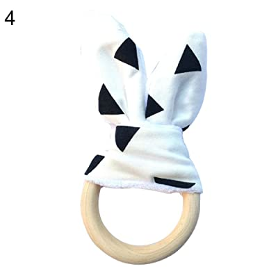 CHoppyWAVE Kids Toys for 1 2 3 4 5 6, Baby Teether Bunny Ear Natural Wood Circle Ring Training Sensory Aid Teething - D for Kids Toddlers Boys Girls: Toys & Games