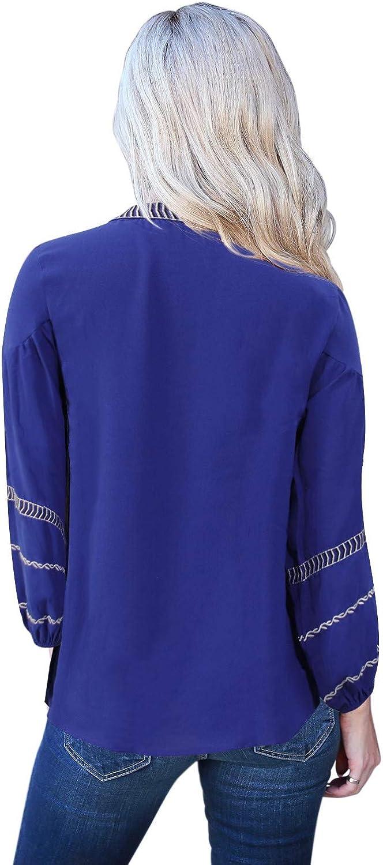 storeofbaby Camicie Casual con Scollo a V da Donna Boho Print Top Manica Lunga Camicetta Allentata