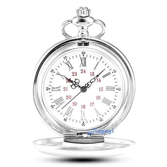 fotos nuevas invicto x reputación primero Gorben Reloj de bolsillo con cadena para hombre, diseño vintage, de cuarzo,  incluye caja de regalo, color plateado