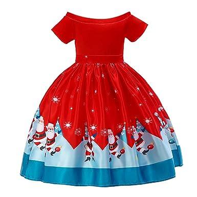 ASHOP Vestidos niña/ Vestido de Fiesta de impresión de Santa ...