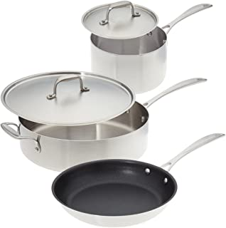 """product image for American Kitchen Cookware - 5 piece Stainless Steel Cookware Set""""Make Enough for Leftovers""""; Tri-Ply Stainless Steel and PFOA-Free Nonstick; Manufactured in USA"""