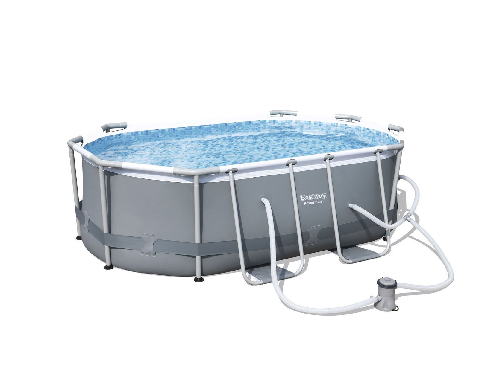 Garden&Park Bestway 9'10'' x 6'6'' x 33'' Power Steel Oval Frame Above Ground Swimming Pool