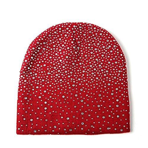 JPOQW Women's Warm Knit Hat Rhinestone Baggy Crochet Winter Caps Wool Knit Ski Beanie Skull Slouchy (Rhinestone Womens Knit Cap)