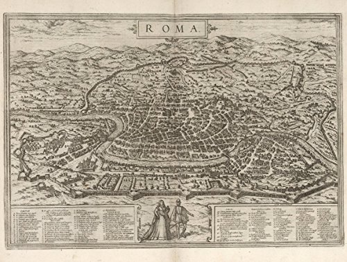 Old City Map of Rome, Italy, Fine Art Print Reproduction