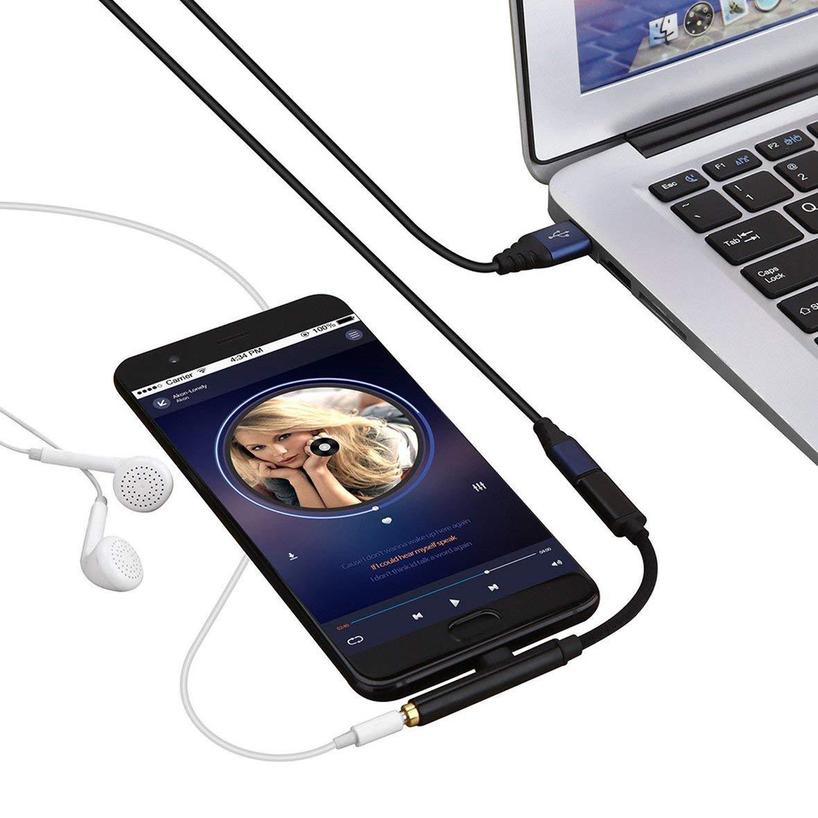 Heaviesk Robustes Typ-C auf USB-C 3,5-mm-Klinken-Audiokabel f/ür Huawei P20 Handy-Audio-Splitter 2-in-1-Typ-C-Kabel