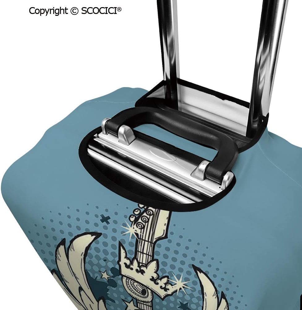 SCOCICI Luggage Suitcase Elastic Protective Covers Geometric Ombra Colored Lines Maze like Circle Round Seem Image for Men Women Travel Business