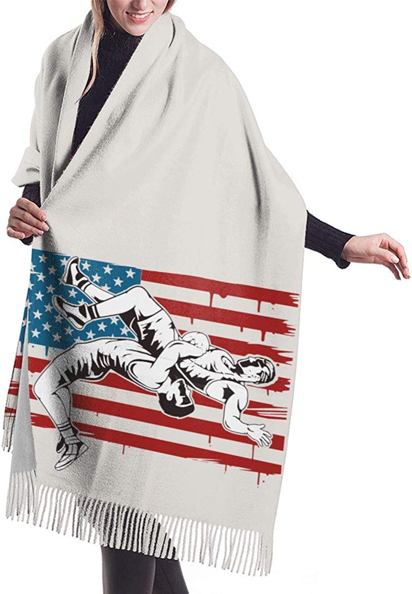 77in X 27in Wrestling USA Flag Design Ladies Cashmere Scarves Winter Big Thick Scarf Shawl Windproof Scarf