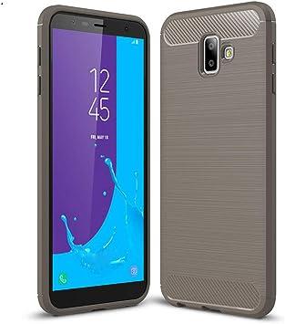 LJSM Samsung Galaxy J6 Plus 2018 / J6+ Funda Gris Fibra de Carbono ...