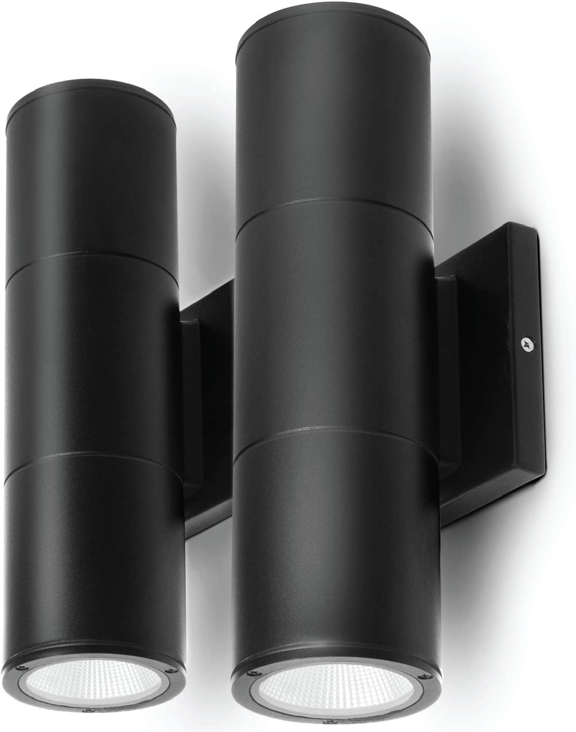 Home Zone Security Porch Sconce Light - Outdoor LED Modern Up Down Wall Mount Lighting, Black (2-Pack)