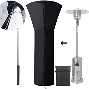 Patio Heater Covers with Zipper, Waterproof Outdoor Heater Cover 210D Oxford Fabric Garden Standup Patio Heater Cover Black Dustproof Snowproof Windproof 24 Months of Use with Collapsable Pole