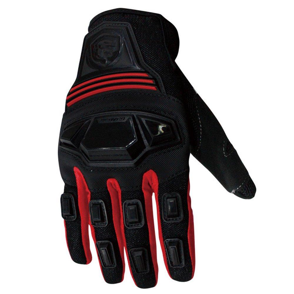 QARYYQ Sport Im Freien Mikrofaser Motorrad Reiten Schutzhandschuhe, Mehrere Farben Handschuh (Farbe   ROT, größe   L)