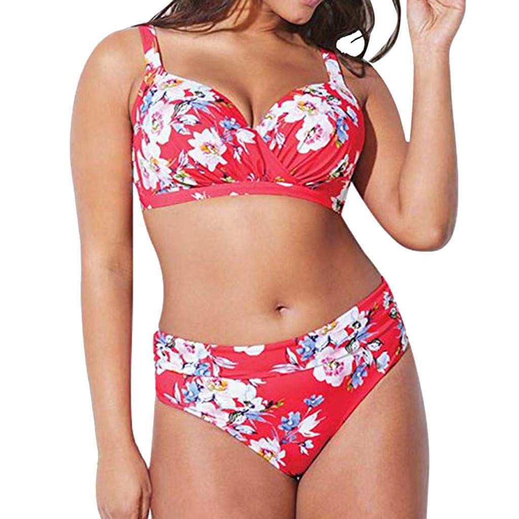 4768f981dd Amazon.com: Women Plus Size High Waist Bikini Set Swimsuit Ruched Two Piece Swimwear  Floral Print Wrap Bathing Suit: Clothing