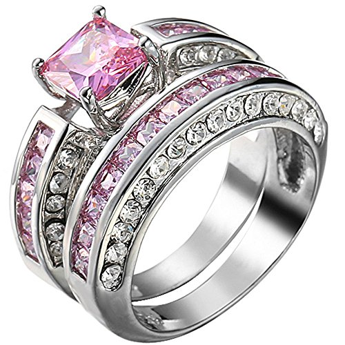 XAHH Jewelry Womens 2 pcs 925 Sterling Silver Plated Pink Cubic Zirconia Wedding Engagement Ring Set 9