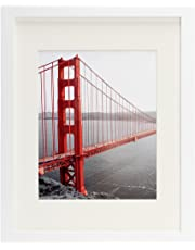 Frametory, 11x14 Picture Frames - Made to Display Pictures 8x10 with Mat or 11x14 Without Mat - Wide Molding - Pre-Installed Wall Mounting Hardware