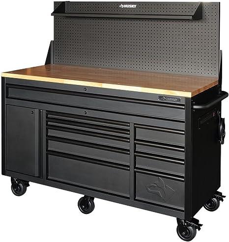 Husky HOTC6110BB1M 61 10-Drawer Mobile Workbench W//Pegboard /& Shelf