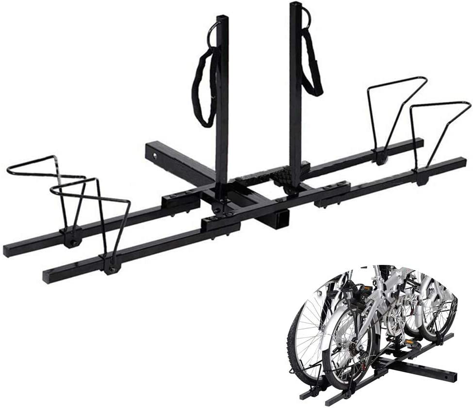 WVIVW Portabicicletas Porton Trasero Universal 2 Bicis Interfaz Cuadrada Portabicis para Coche Bicicletas Plegable Porta-Bicis Auto Soporte de Bici baca para Bicicletas Bike Acero Carga 45kg: Amazon.es: Hogar