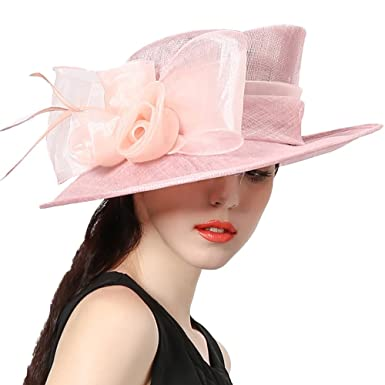 1dbc53510578bf June's Young Women Hats Lady Sinamay Derby Hat Weddding Party Fedoras at Amazon  Women's Clothing store: