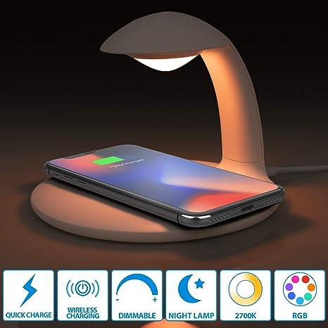 Oeegoo Cargador inalámbrico de 10 vatios con control LED táctil regulable, luz nocturna, lámpara de atmósfera cambiante, cargador inalámbrico Qi para ...