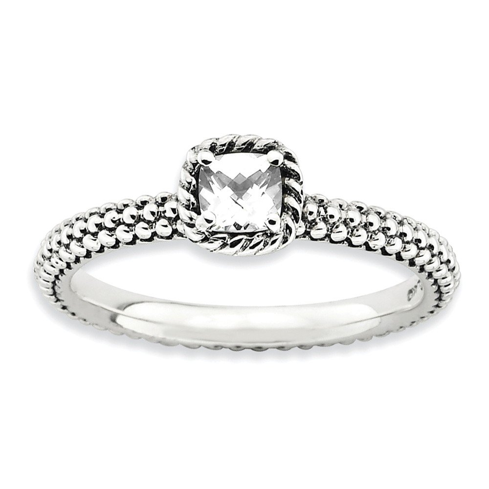 Size 5 White Topaz Checker Cut Antiqued Sterling Silver Stackable Expressions Ring