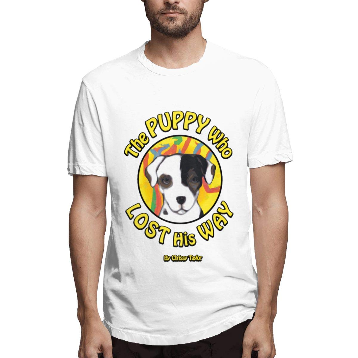 Story Men Comfortable Hiking Short Sleeve Tee Seuriamin The Puppy Who Lost His Way