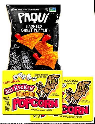 Ghost Pepper Chips 5.5 oz & Spicy Microwave Popcorn Habanero 2 x 3.5 Ounce Bags Real Hot MiDAStick Spicy Mix Snack Set for $<!--$28.99-->