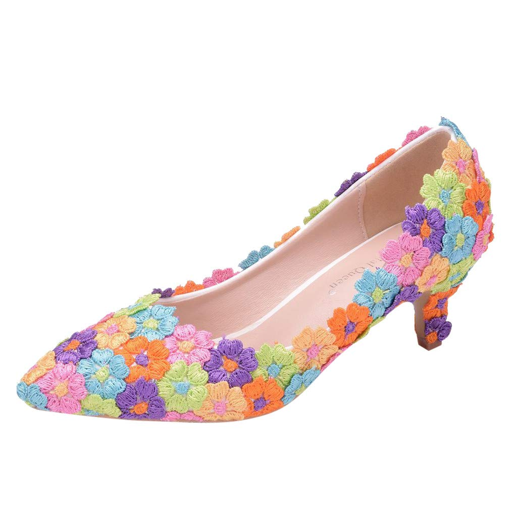 Sandals for Women THENLIAN Ladies Crystal Wedding Pointed Toe Thin Sandals Shoes High Heel Shoes (41, Multicolor)