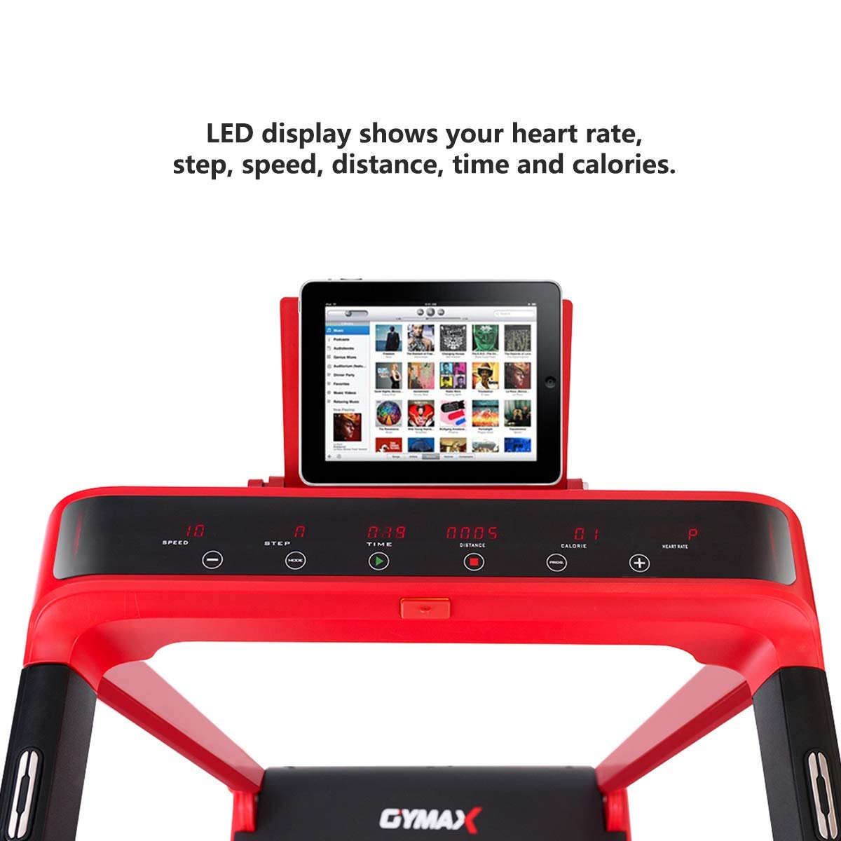 Goplus 2.25 HP Folding Treadmill Electric Cardio Fitness Jogging Running Machine Portable Motorized Power Slim Treadmill with Sports App and LED Display (Red) by Goplus (Image #8)