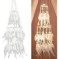 Yinuoday Atrapasueños de Plumas Blancas con luz led