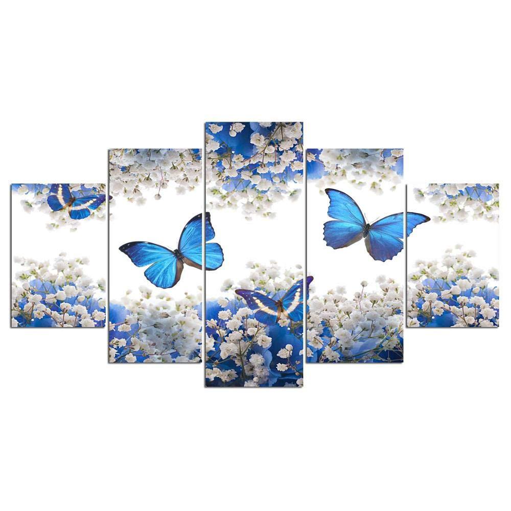 DYDONGWL Cartel de la Pintura la de la Pintura Lona Cuadro de la Pared para la Sala de Arte de la Pared 5 Panel Azul Mariposa Decoración del Hogar Marcos Modulares 3453d4
