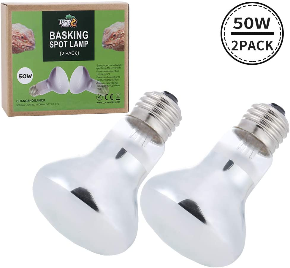 LUCKY HERP 2-Pack Reptile Heat Bulb, Basking Spot Heat Lamp Bulbs for Reptiles, Amphibian, Chicks, Dog Heating Use