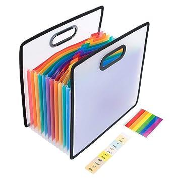 Carpeta Clasificadora Archivador Acordeón Carpetas de Plástico Portátil 12 Bolsillos Arcoiris de gran Capacidad soporte Organizador de Archivos Separadores ...
