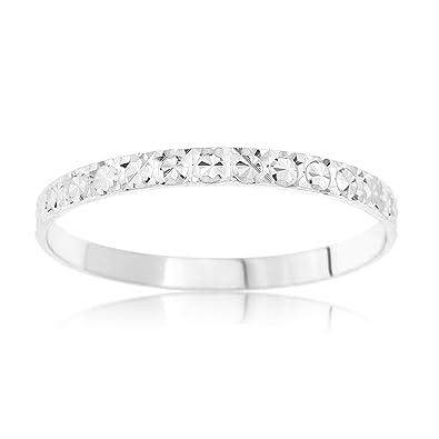 Kareco 9ct White Gold 2mm Light Flat Diamond Cut Wedding Ring