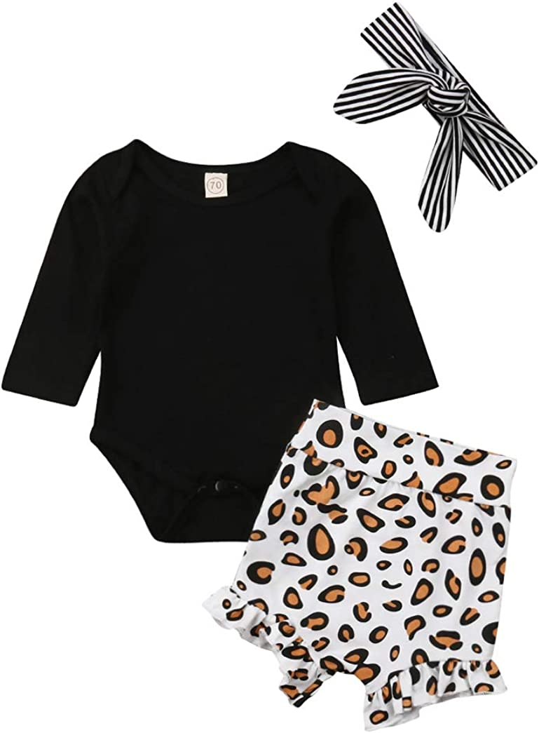 Inflant Baby Girl Leopard Outfit Long Sleeve My Aunt Says Yes Shirts Tops Long Pants Heaband Clothes