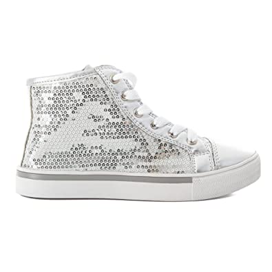 2f51cf4e64c5 Amazon.com | Luv Dance Womens Sequin Dance Costume Mid High Top Shoe Silver  or Black | Fashion Sneakers