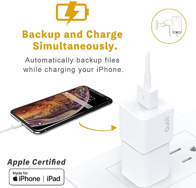 Maktar Qubii White Auto Backup While Charging for iPhones iPads