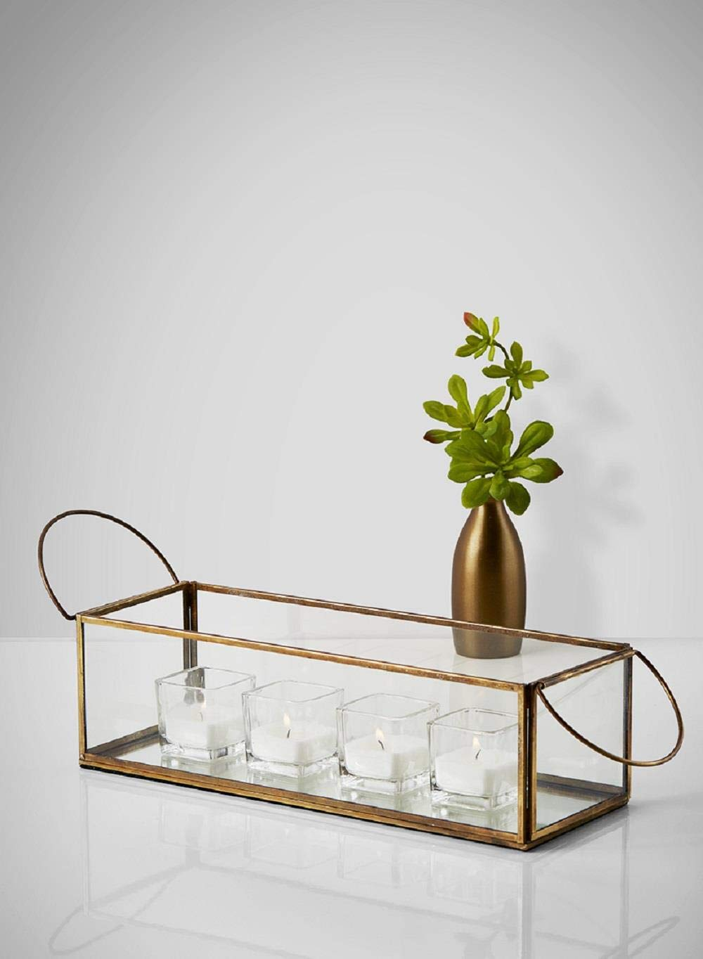 Serene Spaces Living Gold Hexagon Glass Tea Light Holder Measures 4 inches Tall Small Size