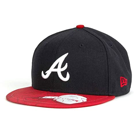 e60cab674f0 Image Unavailable. Image not available for. Color  New Era Atlanta Braves  Subvize 59FIFTY Fitted Cap HAT (Navy Red ...