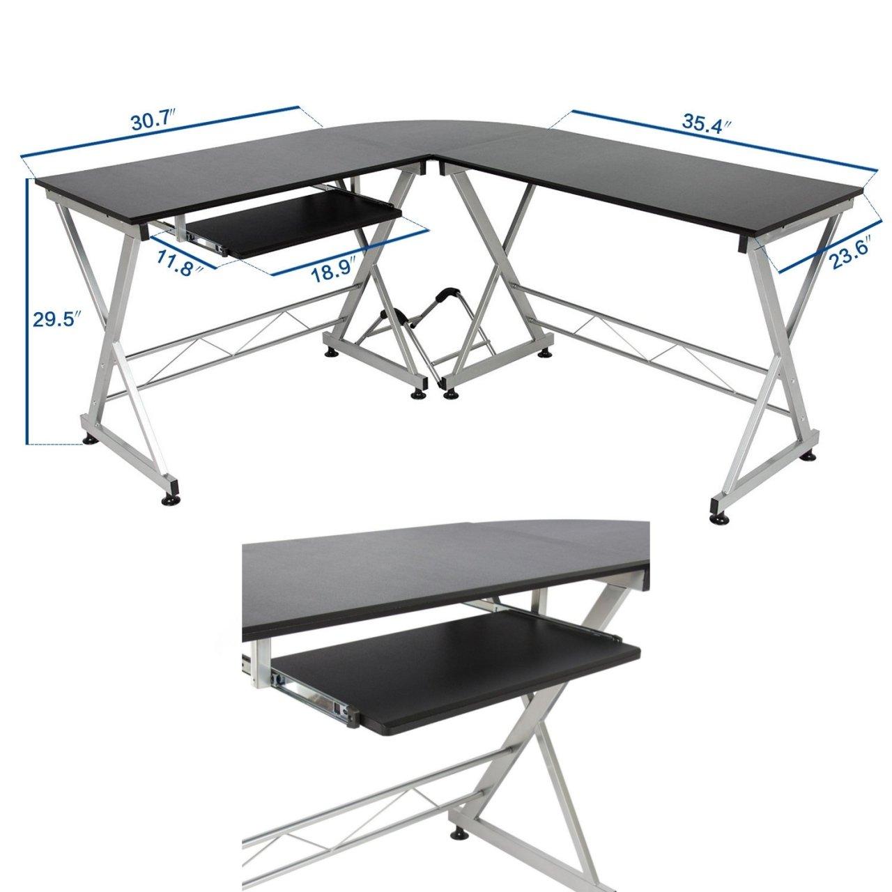 Solid Wood Laptop Computer Desk Corner PC Table Workstation Home Office Decor Furniture/ Black #1037 by Koonlert@shop