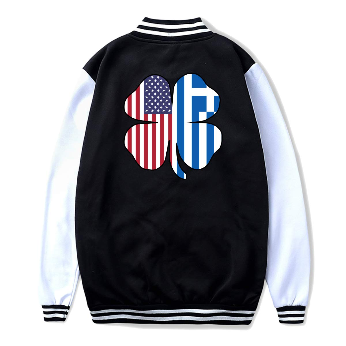 NJKM5MJ Unisex Youth Baseball Uniform Jacket American Greece Greek Flag Shamrock Hoodie Coat Sweater Sweatshirt Back Print